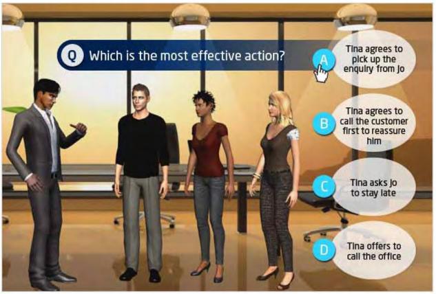 Exemple de Situational Judgment Test Avatar de Saville Consulting