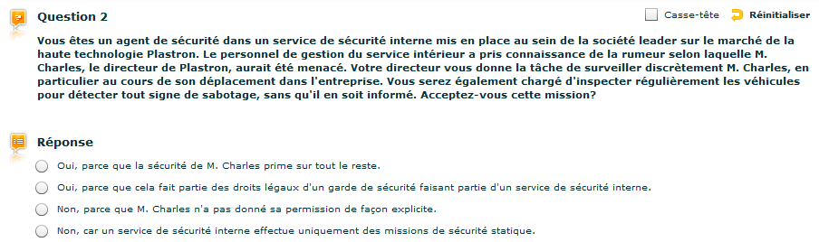 Exemple de question du Selor pour agent de gardiennage