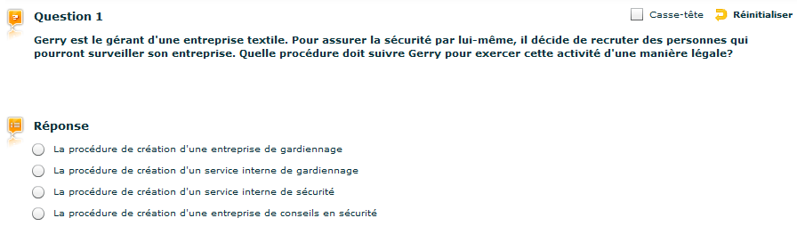 Exemple de question du Selor pour agent de sécurité