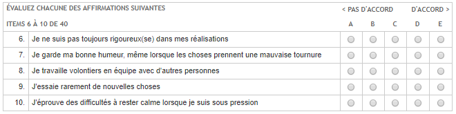 Exemple de question de personnalité du Selor