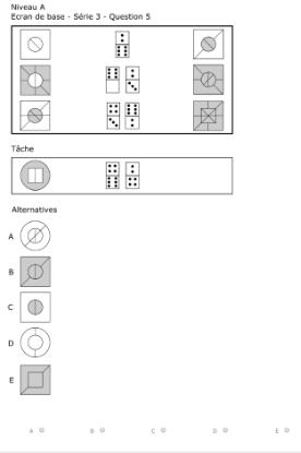 Test de capacité de raisonnement abstrait du Selor : Exemple de question avec des dominos