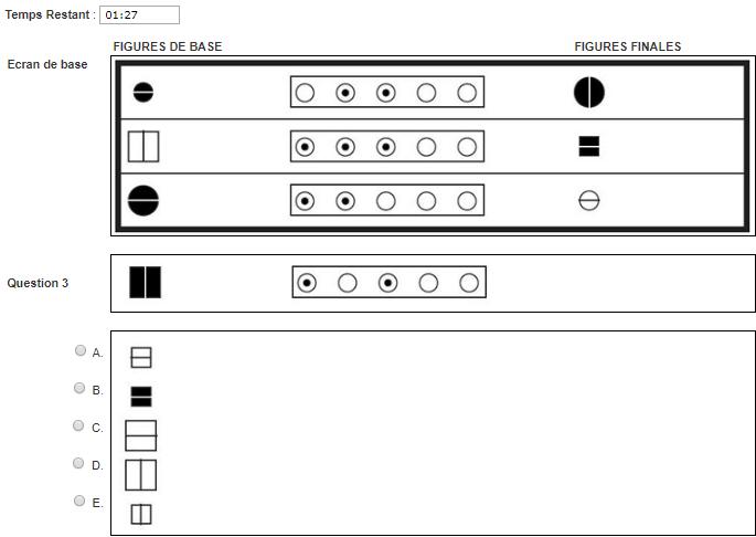 Test de capacité de raisonnement abstrait du Selor : Exemple de question avec des ordinogrammes