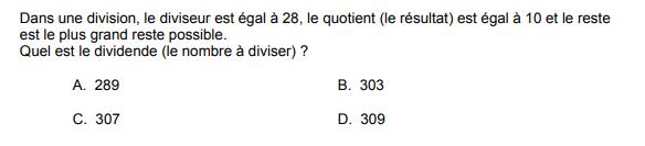 Test de capacité de raisonnement numérique du Selor : exemple de question de problème mathématique