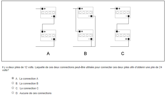 Exemple de question d'électricité avec des batteries