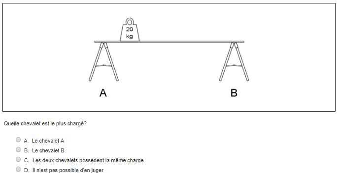 Test de compréhension technique du Selor : question avec un poids de 20 kg sur un chevalet