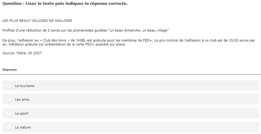 Test linguistique informatisé du Selor : lisez la phrase puis indiquer la réponse correcte