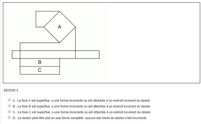 Test de compréhension spatiale du Selor : Pliage